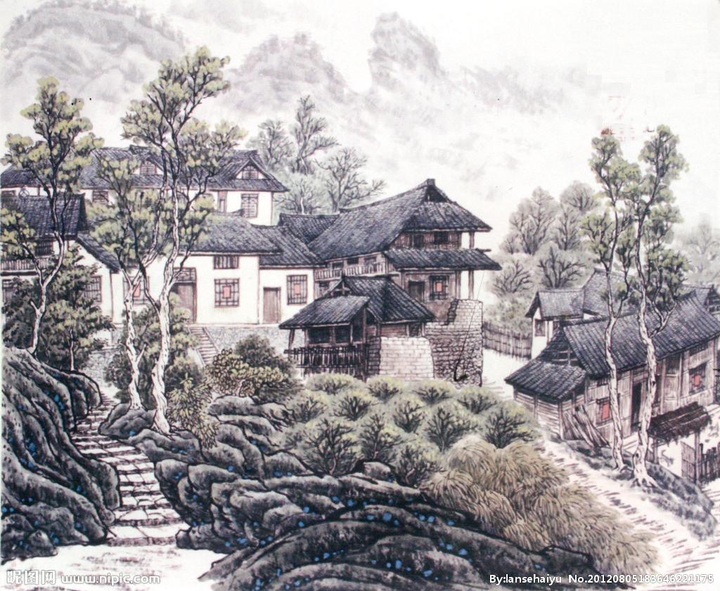 西方的油画风景,中国的山水画最早只作为人物画的